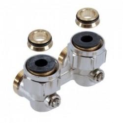 Multiflex F ZB-podwójne przyłącze z odcięciem, kątowe 3/4NZx3/4GZ, z mosiądzu, niklowane