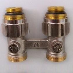 Multiflex F ZB-podwójne przyłącze z odcięciem 1/2GZx3/4GZ, z mosiądzu, niklowane