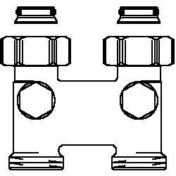 Złącze krzyżowe z odcięciem proste, 50 mm, 3/4NZx3/4GZ, niklowane