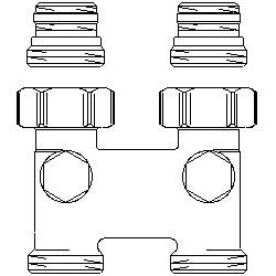 Złącze krzyżowe z odcięciem proste, 50 mm, 1/2GZx3/4GZ, niklowane