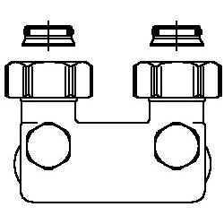 Złącze krzyżowe z odcięciem kątowe, 50 mm, 3/4NZx3/4GZ, niklowane