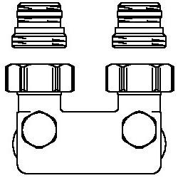 Złącze krzyżowe z odcięciem kątowe, 50 mm, 1/2GZx3/4GZ, niklowane